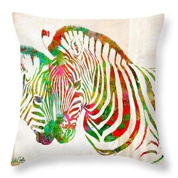 Zebra Lovin Throw Pillow by Nikki Smith