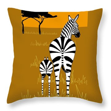 Zebra Mare With Baby Throw Pillow