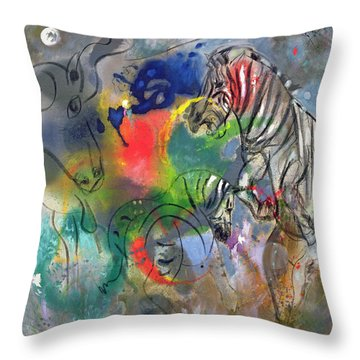 Zebra Mares Throw Pillow by Jane Deakin