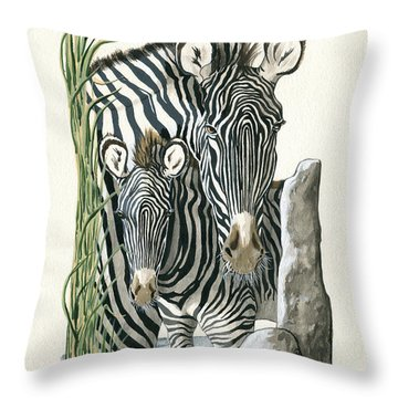 Zebra Mother And Colt Protect Our Children Painting Throw Pillow