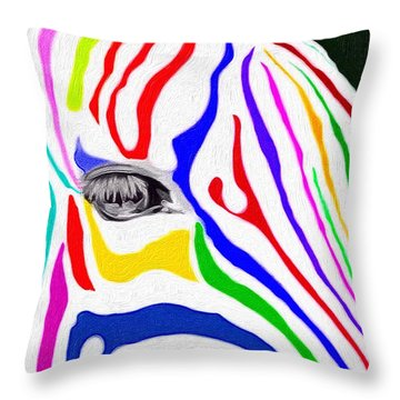 Throw Pillow featuring the painting Zebra Nothing Is Black And White by Mark Taylor