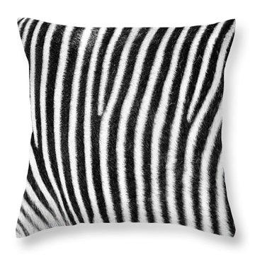 Zebra Print Black And White Horizontal Crop Throw Pillow