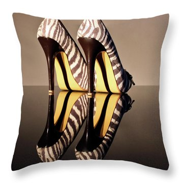 Throw Pillow featuring the photograph Zebra Print Stiletto by Terri Waters