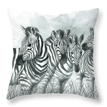 Zebra Quartet Throw Pillow