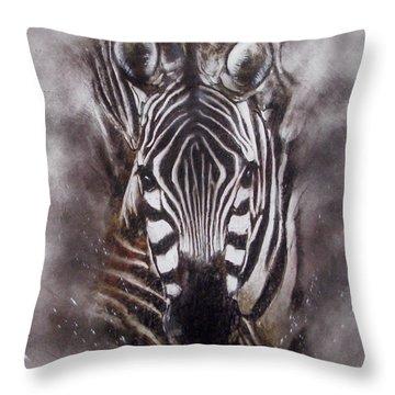 Zebra Splash Throw Pillow