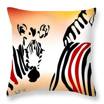 Zebra Theme Throw Pillow by Leo Symon