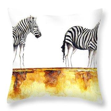 Zebra Trio - Original Artwork Throw Pillow