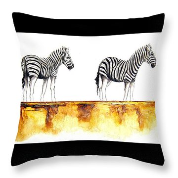 Zebra Trio - Original Artwork Throw Pillow