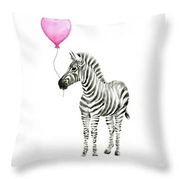 Zebra Watercolor Whimsical Animal With Balloon Throw Pillow