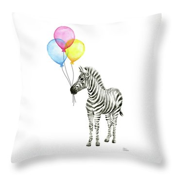 Zebra Watercolor With Balloons Throw Pillow
