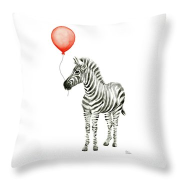Zebra With Red Balloon Whimsical Baby Animals Throw Pillow