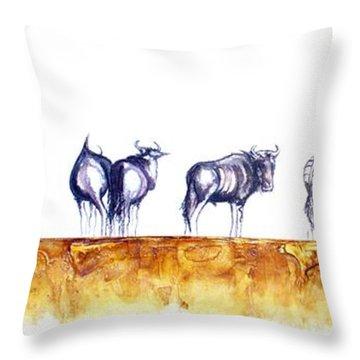 Zebras And Wildebeest 2 Throw Pillow