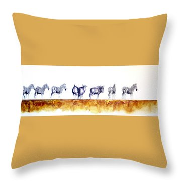 Zebras And Wildebeest 2 Throw Pillow