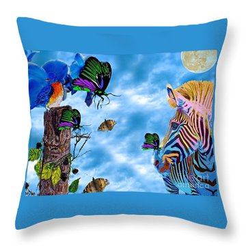 Zebras Birds And Butterflies Good Morning My Friends Throw Pillow