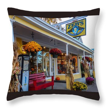 Zebs General Store, North Conway 1 Throw Pillow by Nancy De Flon