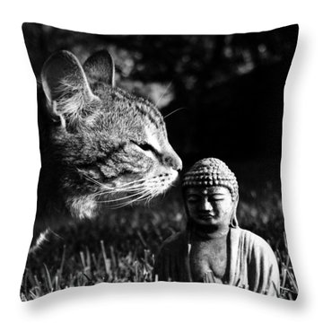 Zen Cat Black And White- Photography By Linda Woods Throw Pillow