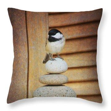 Zen Chickadee Throw Pillow
