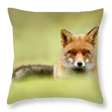 Zen Fox Series - Zen Fox In A Sea Of Green Throw Pillow by Roeselien Raimond
