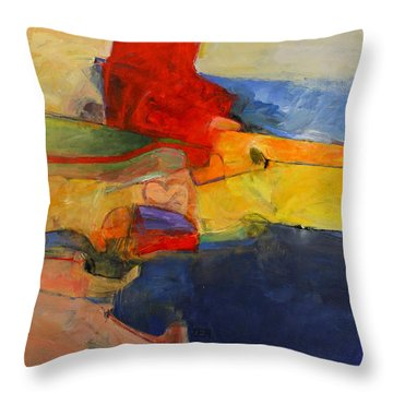 Throw Pillow featuring the painting Zen Harbor by Cliff Spohn