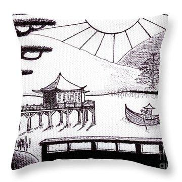 Zen Lake Original Black Ink On White Canvas By Ricardos Throw Pillow by Ricardos Creations