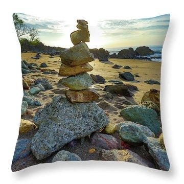 Zen Rock Balance Throw Pillow
