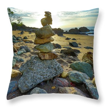 Zen Rock Balance Throw Pillow