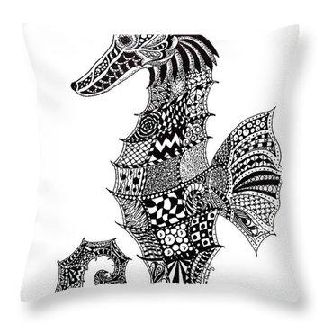 Zen Seahorse Throw Pillow