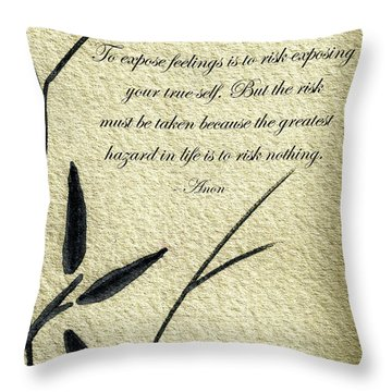 Zen Sumi 4m Antique Motivational Flower Ink On Watercolor Paper By Ricardos Throw Pillow