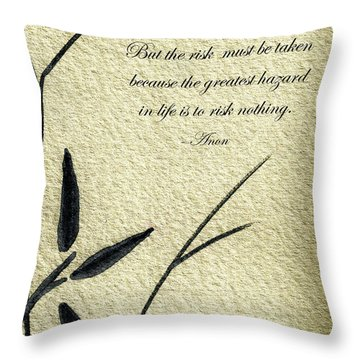 Zen Sumi 4n Antique Motivational Flower Ink On Watercolor Paper By Ricardos Throw Pillow