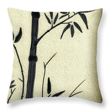 Zen Sumi Antique Bamboo 1a Black Ink On Fine Art Watercolor Paper By Ricardos Throw Pillow