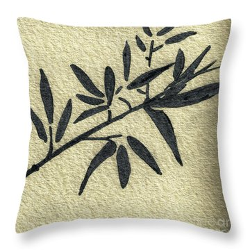 Zen Sumi Antique Botanical 4a Ink On Fine Art Watercolor Paper By Ricardos Throw Pillow