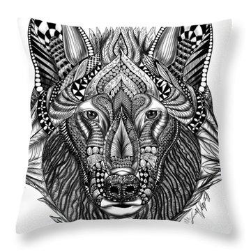 Zendoodle Wolf Throw Pillow