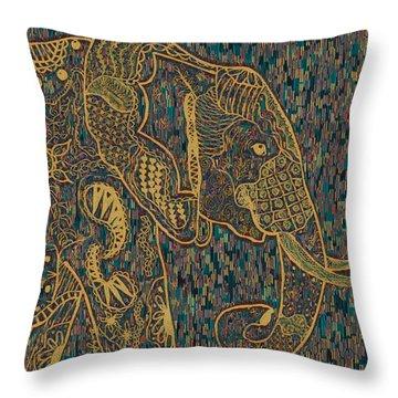Zentangle Elephant-oil Gold Throw Pillow
