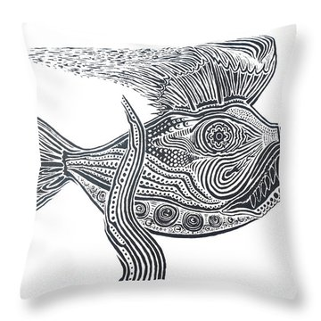 Zentangle Fish Throw Pillow by Steve  Hester