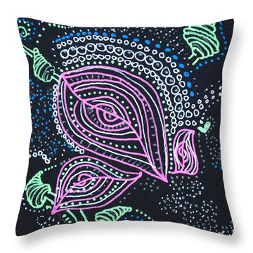 Zentangle Flower Throw Pillow