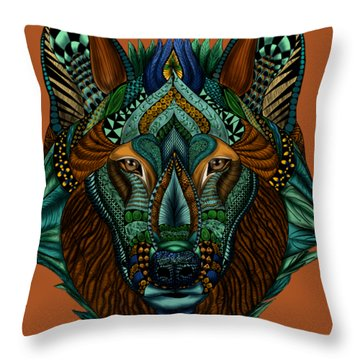 Zentangle Inspired Art- Wolf Colored Throw Pillow