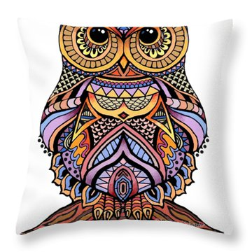 Zentangle Owl Throw Pillow