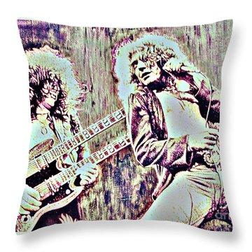 Zeppelin Concert On Wood  Throw Pillow by Natalie Ortiz