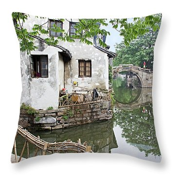 Zhouzhuang - A Watertown Throw Pillow