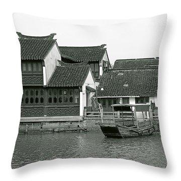 Zhujiajiao Ancient Water Town China Throw Pillow by Christine Till