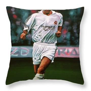Zidane At Real Madrid Painting Throw Pillow