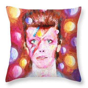 Ziggy Stardust  Throw Pillow by Louis Ferreira