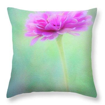 Painted Pink Zinnia Throw Pillow
