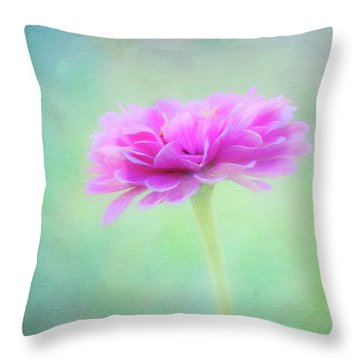 Painted Pink Zinnia Throw Pillow