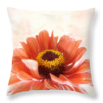Throw Pillow featuring the photograph Zinnia Bright by Louise Kumpf