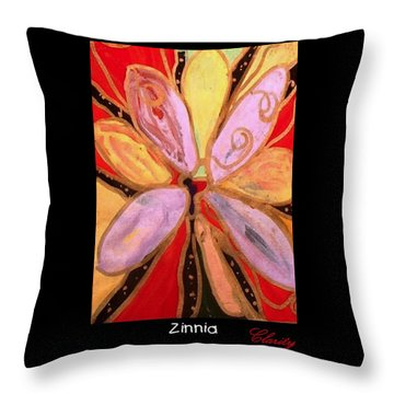 Throw Pillow featuring the painting Zinnia by Clarity Artists