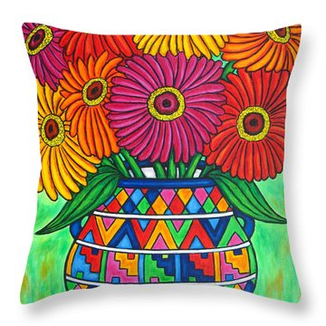 Zinnia Fiesta Throw Pillow