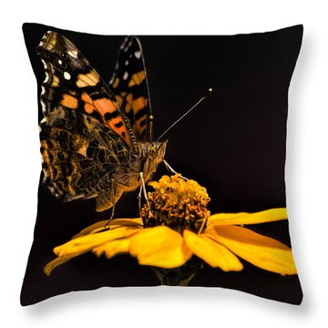 Zinnia Sipping Throw Pillow by Alana Thrower
