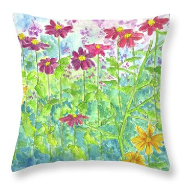 Throw Pillow featuring the painting Zinnias  by Cathie Richardson