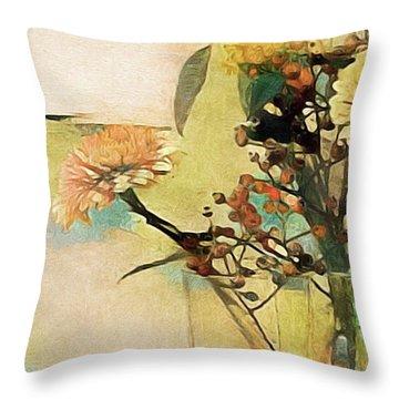 Zinnias From The Garden Throw Pillow